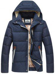 Zip Pocket Elbow Patch flocage Hooded Down Jacket - Bleu M