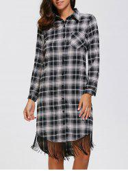 Plaid Fringed Button Up Shirt Dress