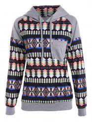 Ornate Print Drawstring Raglan Sleeves Hoodie