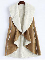 Long Faux Suede Open Front Vest