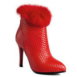 Embossed Faux Fur Stiletto Heel Boots