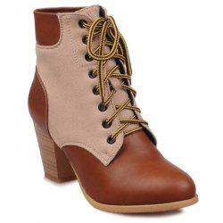 Color Block PU Leather Panel Chunky Heel Boots - BROWN