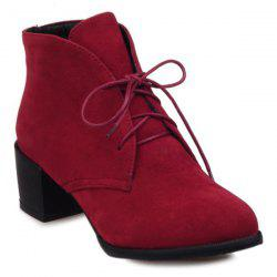 Flock Lace Up Chunky Heel Ankle Boots