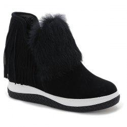 Faux Fur Fringe Hidden Wedge Ankle Boots
