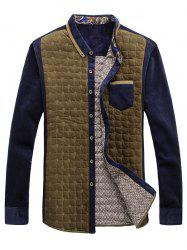 Chest Pocket Contrast Insert Grid Quilted Shirt - YELLOW 3XL