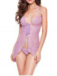 Asymmetric Lace See-Through Babydoll