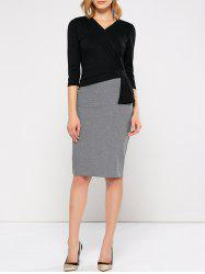 V Neck Bodycon Work Dress With Sleeves - BLACK AND GREY