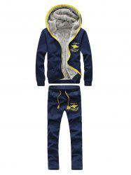 Graphic Printed Zip Up Hoodie and Sweatpants - PURPLISH BLUE 4XL
