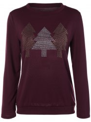 Christmas Tree Rhinestoned Tee - BURGUNDY XL