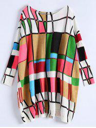 Plus Size Geometry Pattern Sweater - WHITE
