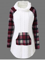 Plaid Cable Knit Tunic Sweater -