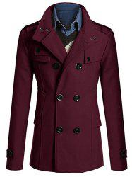 Stand Collar Zipper Design Double Breasted Woolen Blends Coat - WINE RED