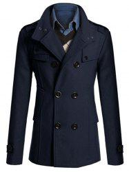 Stand Collar Zipper Design Double Breasted Woolen Blends Coat - CADETBLUE