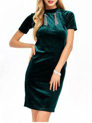 Mock Neck Velvet Midi Dress