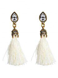 Rhinestone Water Drop Tassel Earrings - WHITE