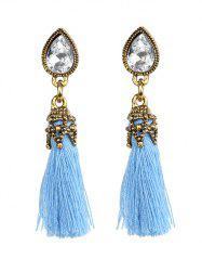 Rhinestone Water Drop Tassel Earrings - BLUE