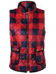 Zip Up Plaid Puffer Vest