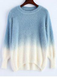 Ombre High-Low Fuzzy Sweater