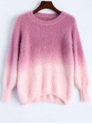 Ombre High-Low Fuzzy Sweater - ROSE RED