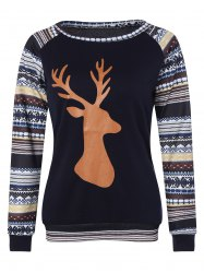 Christmas Raglan Sleeve Stripe Elk T-Shirt