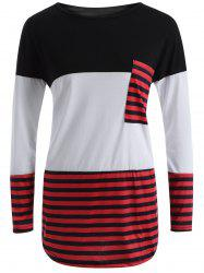 Stripe Color Block Pocket Long T-Shirt -