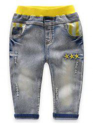 Boys Star Embroidery Ripped Jeans -