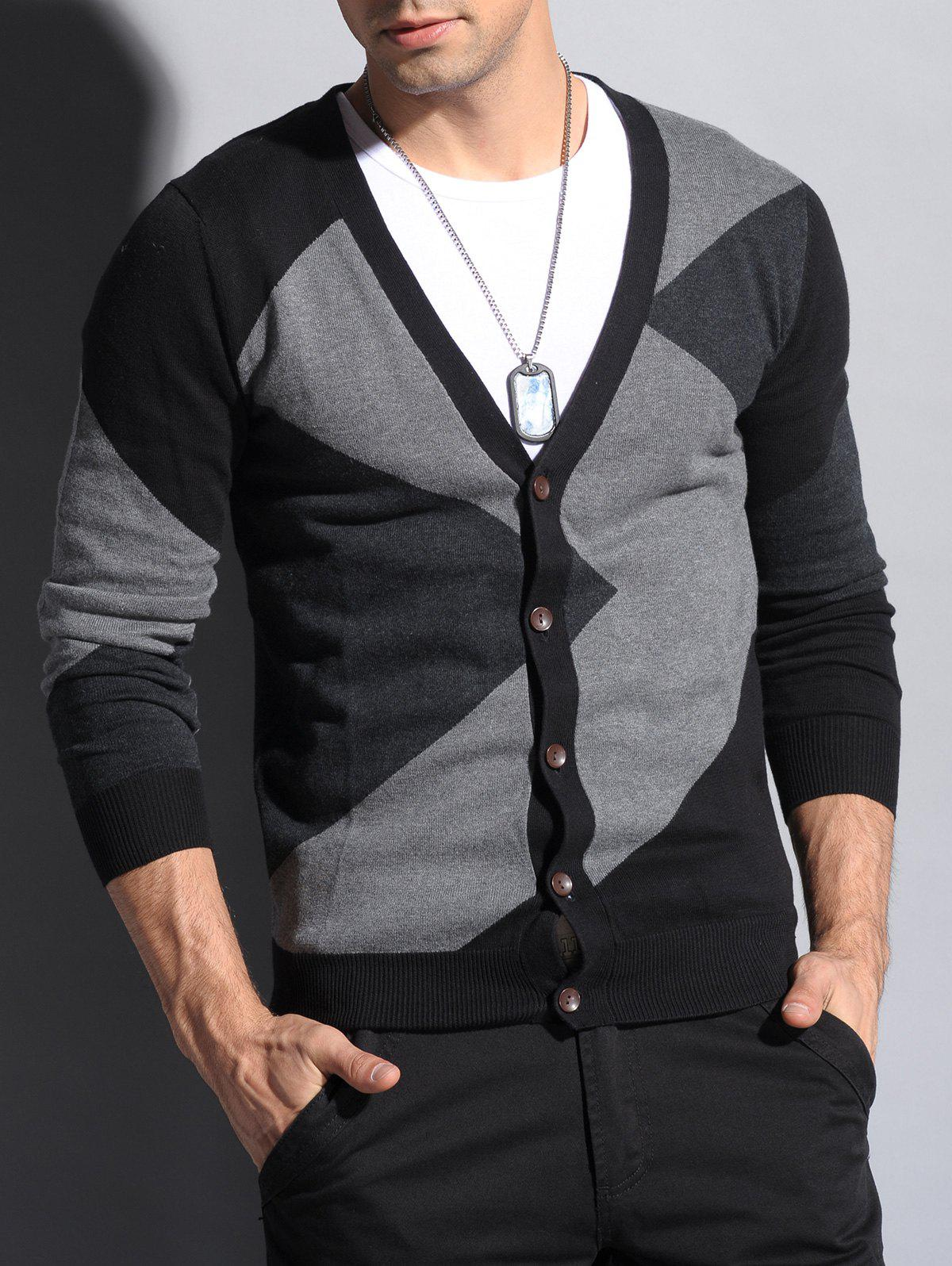Store V Neck Color Matching Button Up Cardigan