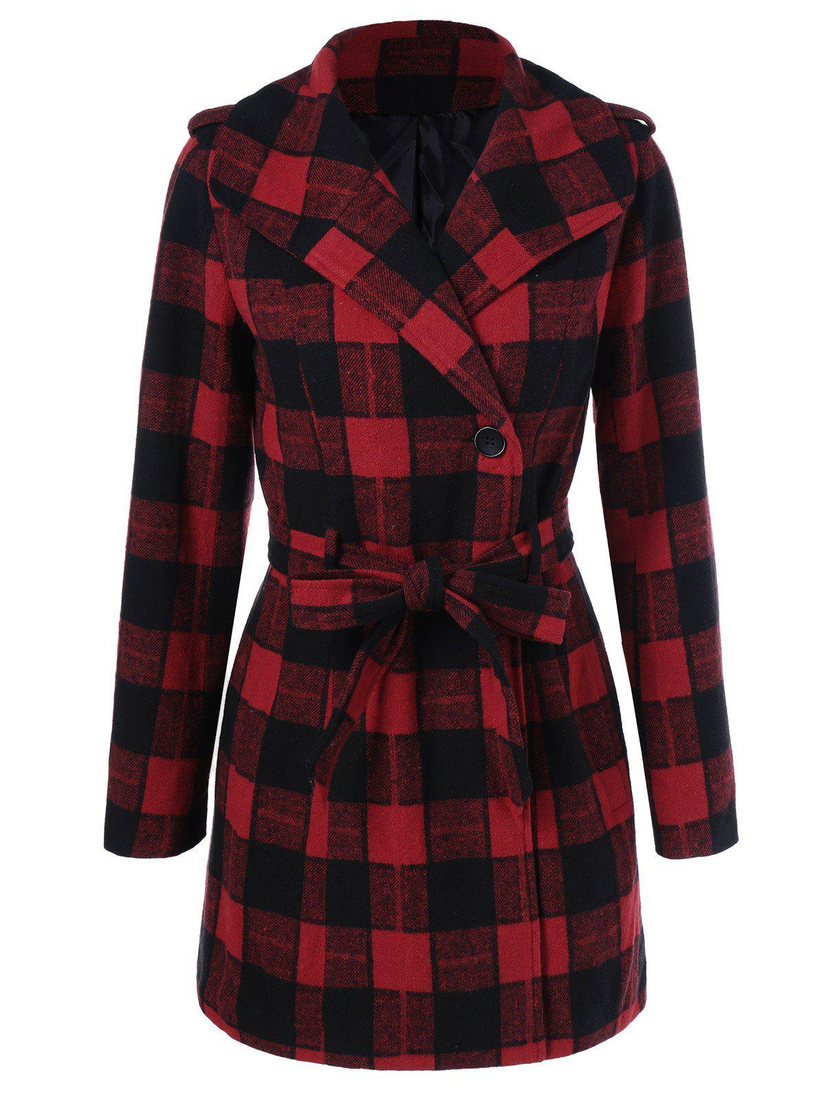 New One Button Design Plaid Coat