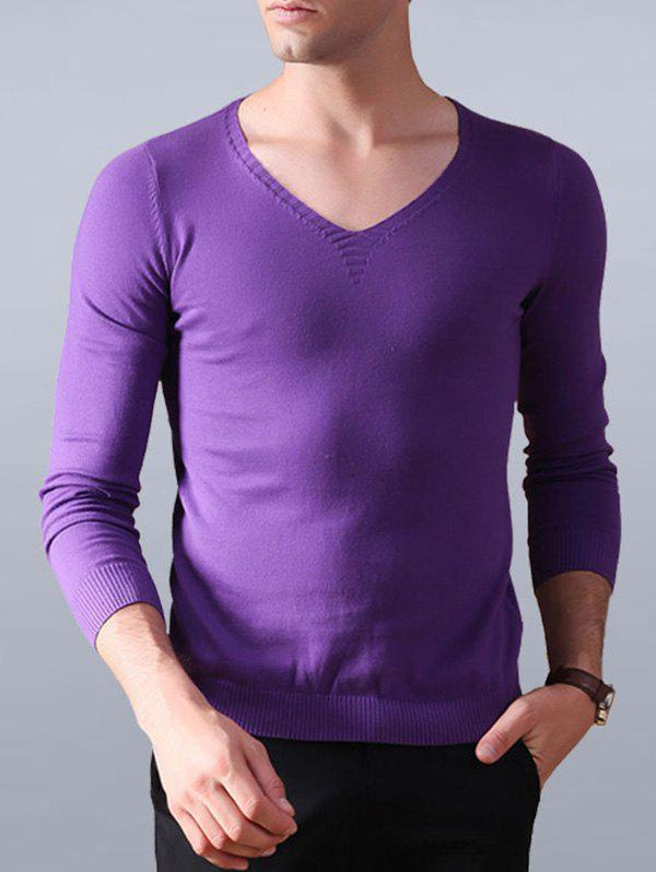 Unique V Neck Flat Knitted Plain Sweater