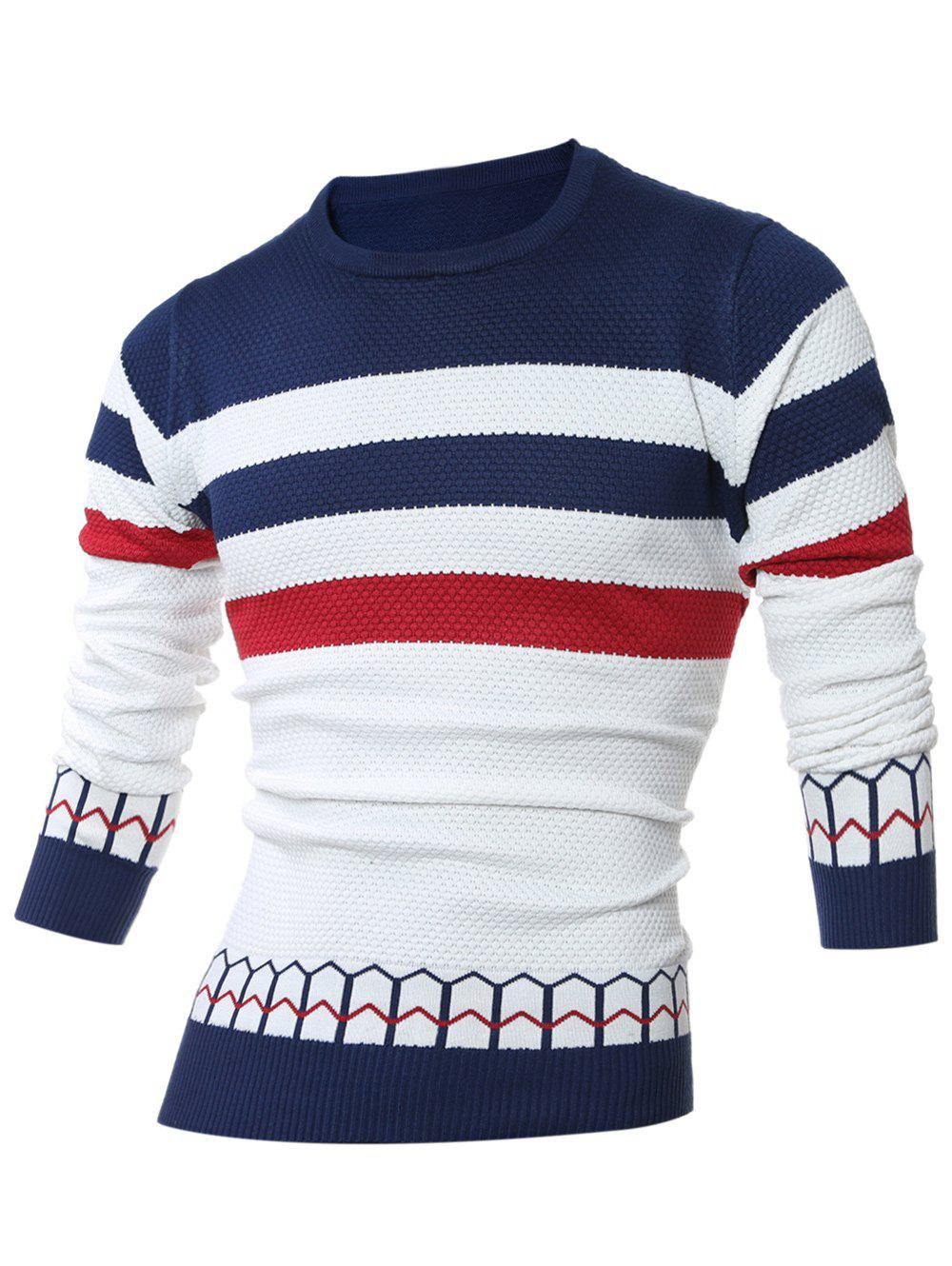 Discount Striped Jacquard Crew Neck Pullover Sweater