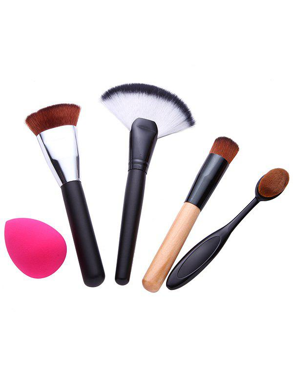 4 Pcs Facial Makeup Brushes Set and Makeup SpongeBEAUTY<br><br>Color: BLACK; Category: Makeup Brushes Set; Brush Hair Material: Synthetic Hair; Features: Professional; Season: Fall,Spring,Summer,Winter; Weight: 0.1600kg; Package Contents: 4 x Brushes (Pcs)  1 x Makeup Sponge;