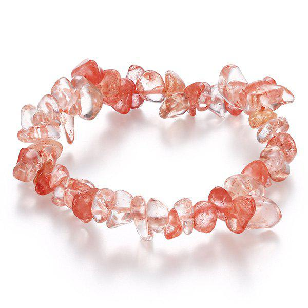 Natural Stone Strand BraceletJEWELRY<br><br>Color: WATERMELON RED; Item Type: Strand Bracelet; Gender: For Women; Chain Type: Others; Style: Trendy; Shape/Pattern: Others; Weight: 0.040kg; Package Contents: 1 x Bracelet;