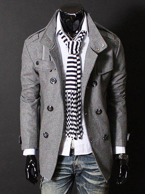 Outfits Epaulet Zipper Design Double Breasted Wool Blends Coat