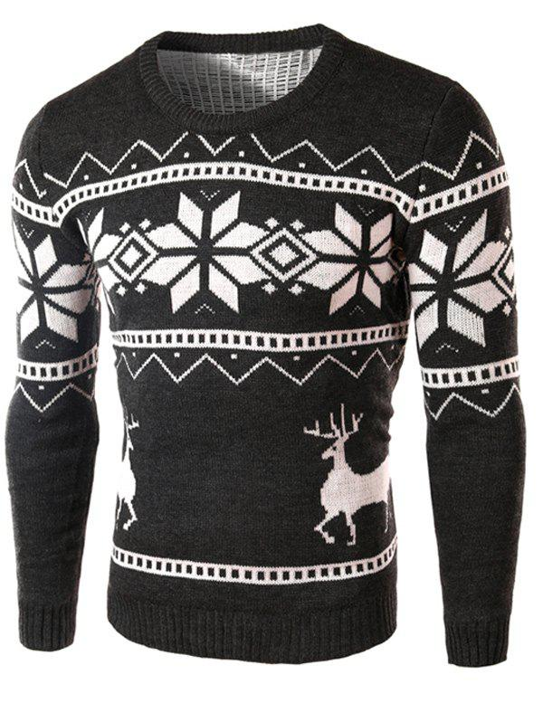 Fashion Deer and Snowflake Pattern Christmas Sweater