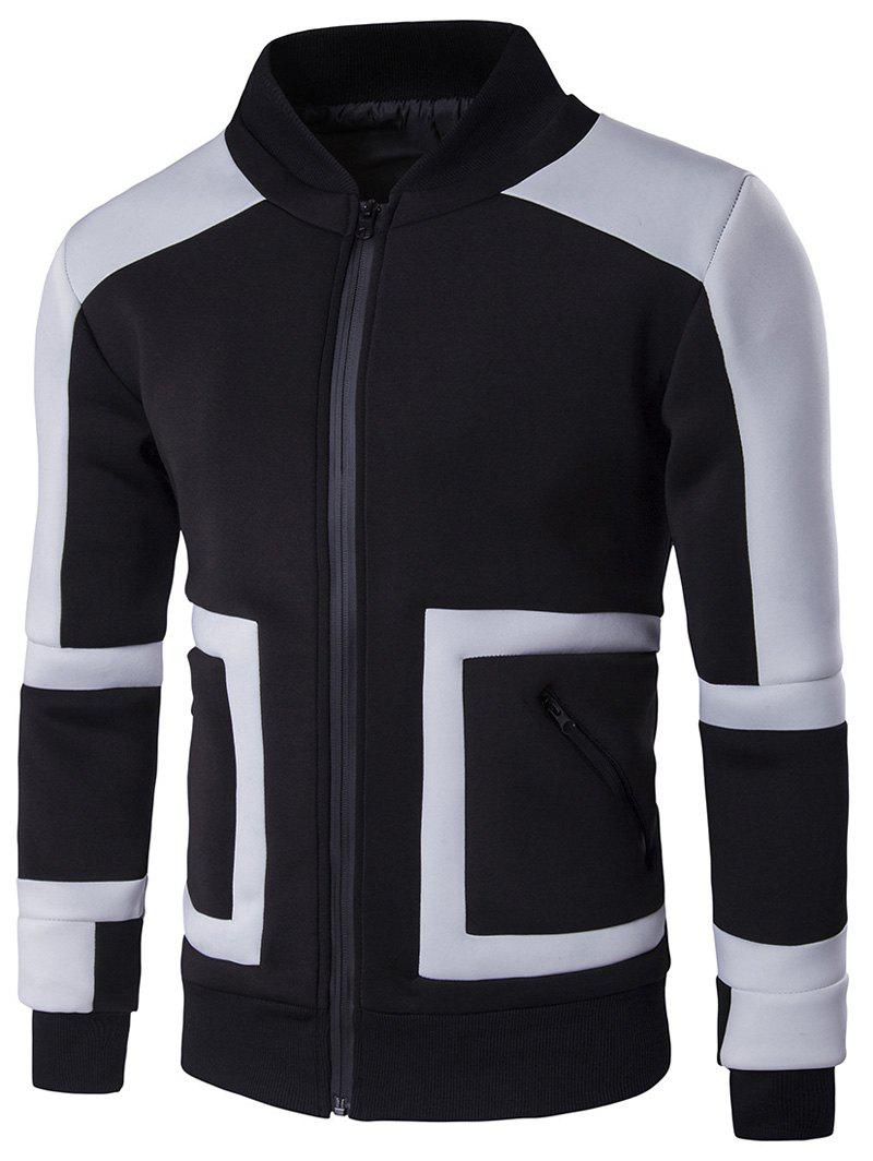 Pied de col Color Block Insert design Zip Up Jacket Noir 3XL