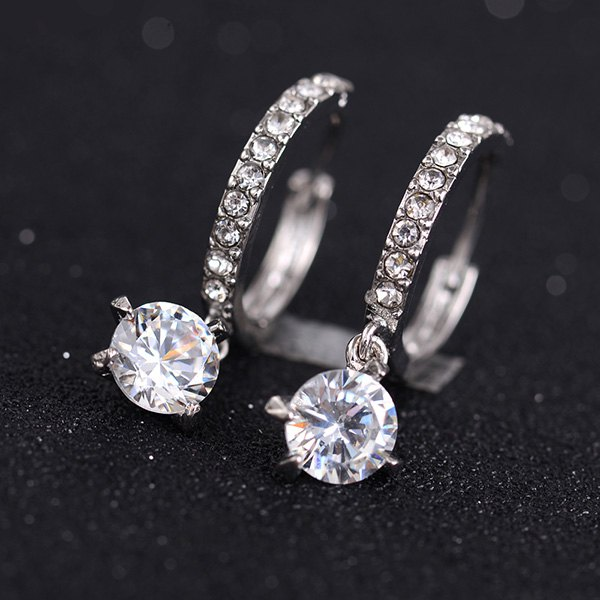 Rhinestone Round EarringsJEWELRY<br><br>Color: SILVER; Earring Type: Hoop Earrings; Gender: For Women; Style: Trendy; Shape/Pattern: Round; Weight: 0.040kg; Package Contents: 1 x Earrings (Pair);