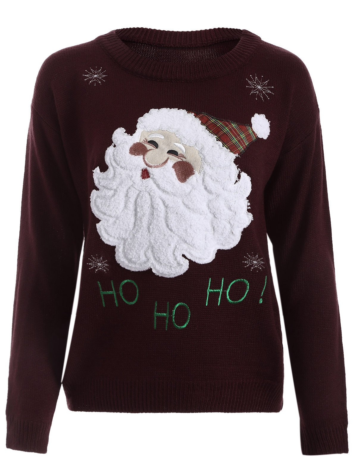 Santa Claus Snowflake Christmas SwearerWOMEN<br><br>Size: ONE SIZE; Color: WINE RED; Type: Pullovers; Material: Cotton,Polyester; Sleeve Length: Full; Collar: Crew Neck; Style: Casual; Pattern Type: Character; Season: Winter; Elasticity: Elastic; Weight: 0.6000kg; Package Contents: 1 x Sweater;