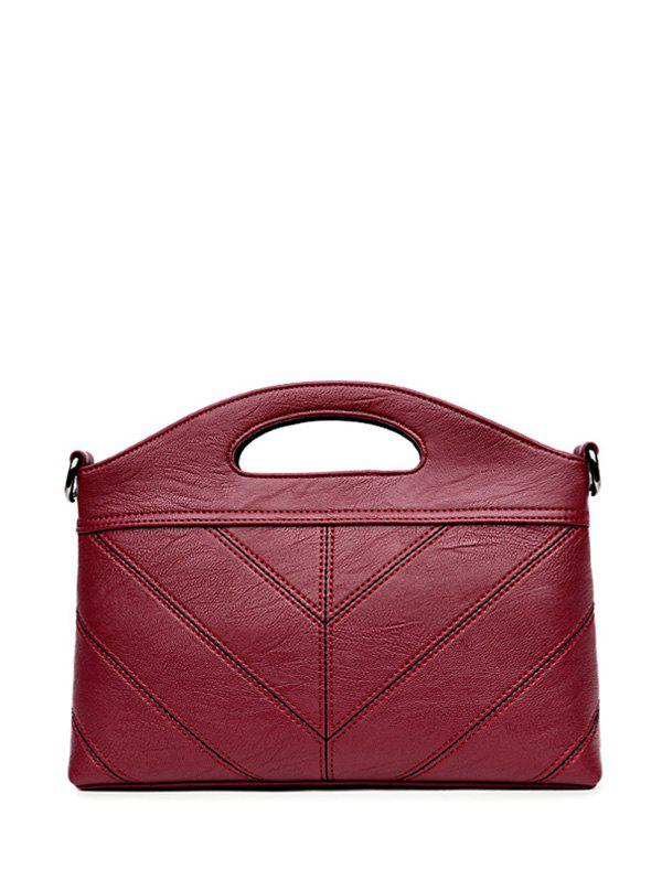 Fancy Concise PU Leather Stitching Handbag