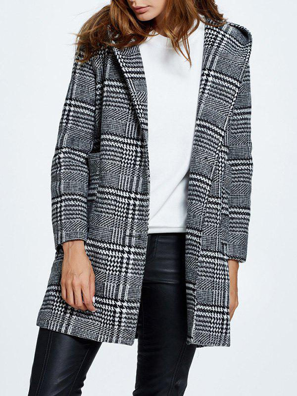 Latest Hooded Pompon Embellished Plaid Wrap Coat