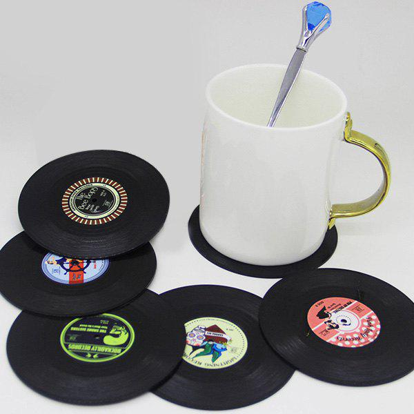 6 Pcs/ Set Retro CD Record Shapes Heat Insulation Cup MatHOME<br><br>Color: BLACK; Type: Mats &amp; Pads; Material: ABS,Other; Size(CM): 10.5?Diameter?; Weight: 0.145kg; Package Contents: 1 x Cup Mat?6 Pcs?;