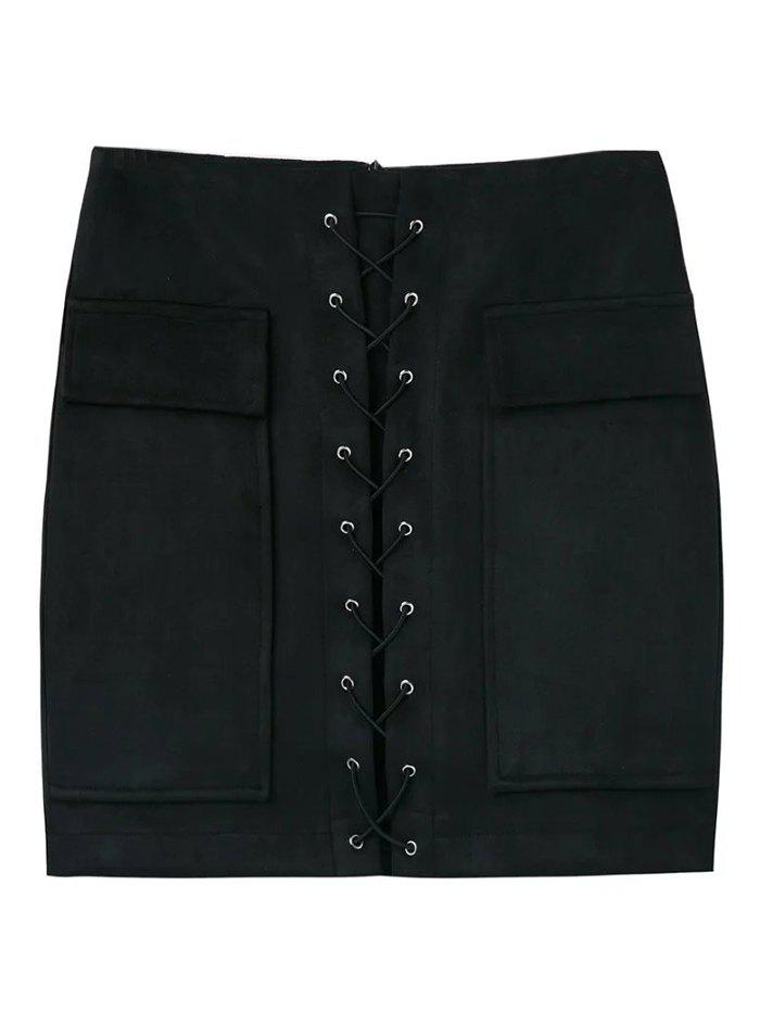 Latest Faux Suede Mini Skirt With Pockets