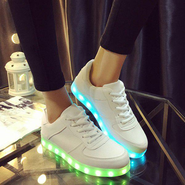 Lace-Up Led Luminous PU Cuir Chaussures Blanc 33