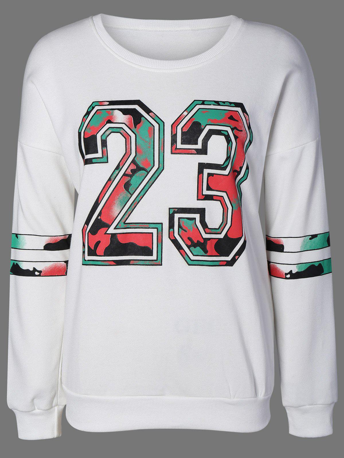 Plus Size 23 Graphic Striped SweatshirtWOMEN<br><br>Size: 5XL; Color: WHITE; Material: Polyester; Shirt Length: Long; Sleeve Length: Full; Style: Streetwear; Pattern Style: Figure; Season: Fall,Spring; Weight: 0.470kg; Package Contents: 1 x Sweatshirt;