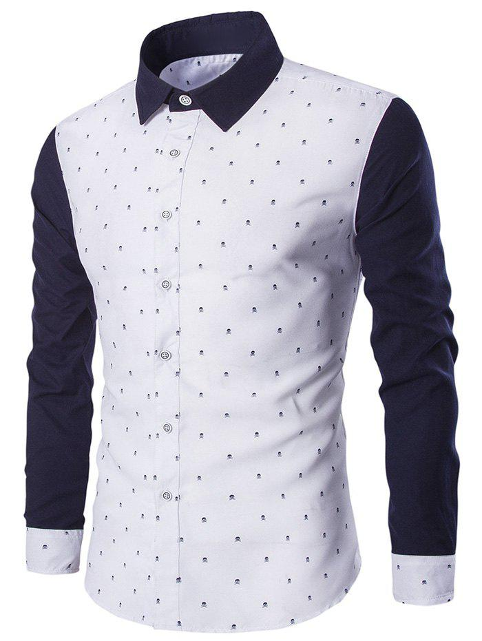 Turndown Collar Skull Print Color Block Spliced ShirtMEN<br><br>Size: L; Color: WHITE; Shirts Type: Casual Shirts; Material: Cotton,Polyester; Sleeve Length: Full; Collar: Turn-down Collar; Weight: 0.2020kg; Package Contents: 1 x Shirt;
