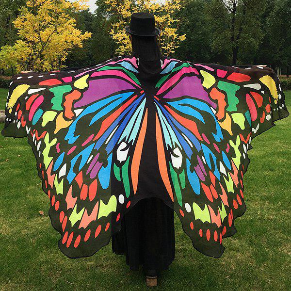 Butterfly Wing Cape ScarfACCESSORIES<br><br>Color: COLORFUL; Scarf Type: Scarf; Group: Adult; Gender: For Women; Style: Fashion; Material: Polyester; Season: Fall,Spring,Summer,Winter; Scarf Length: 197CM; Scarf Width (CM): 125CM; Weight: 0.100kg; Package Contents: 1 x Scarf;