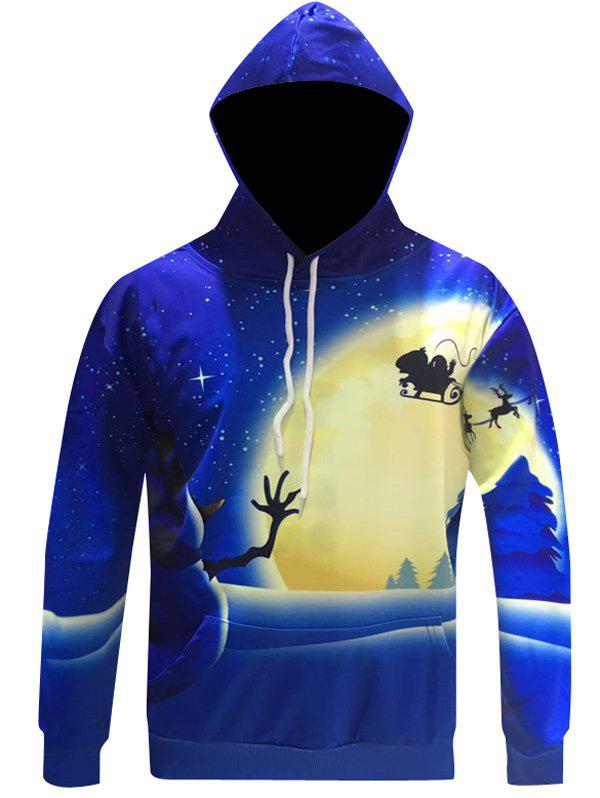 Snowman Print Pullover Christmas Patterned HoodiesMEN<br><br>Size: XL; Color: BLUE; Material: Cotton Blends; Shirt Length: Regular; Sleeve Length: Full; Style: Fashion; Weight: 0.368kg; Package Contents: 1 x Hoodie;