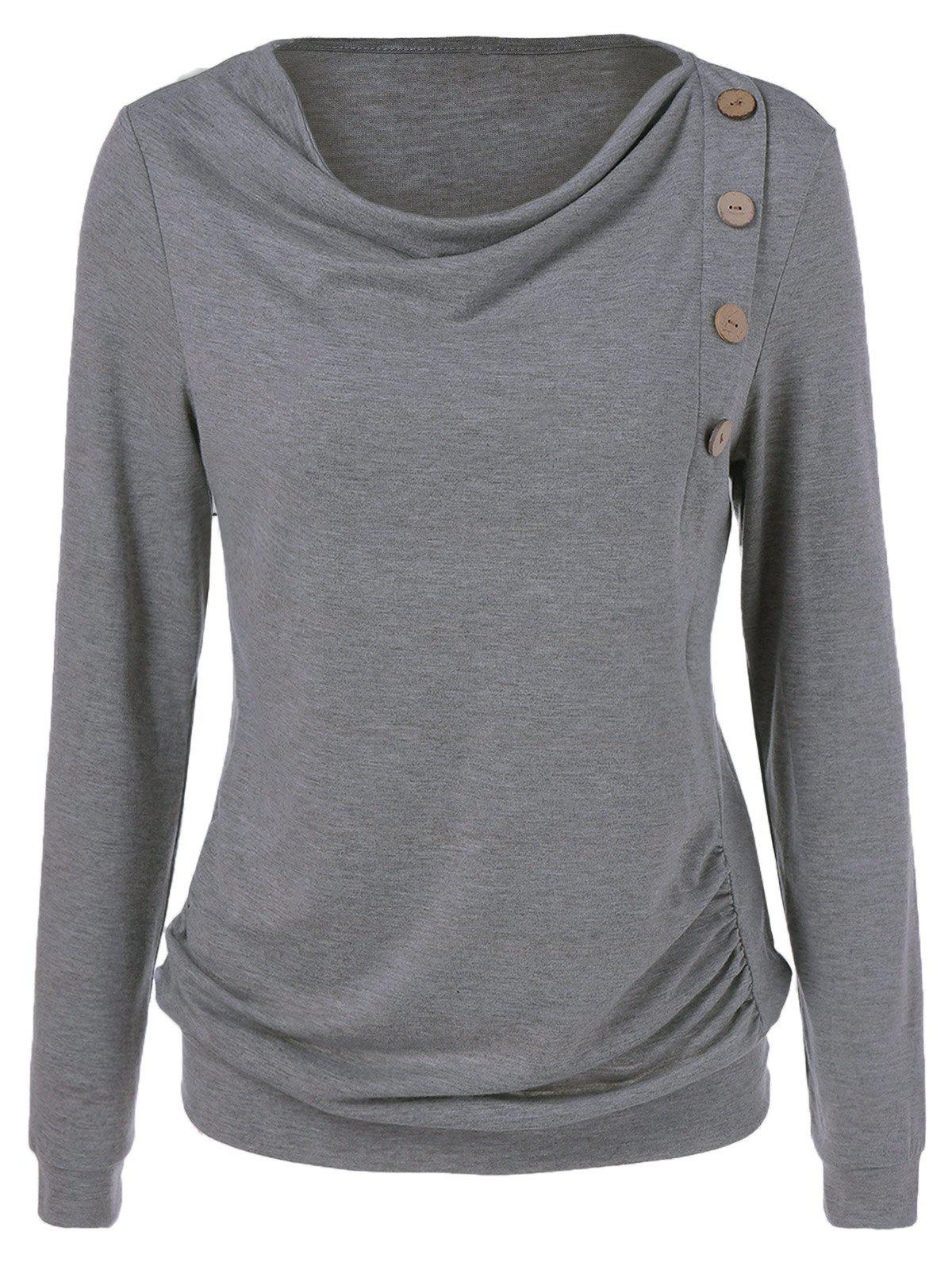 Side Button SweatshirtWOMEN<br><br>Size: XL; Color: GRAY; Material: Polyester; Shirt Length: Regular; Sleeve Length: Full; Style: Casual; Pattern Style: Solid; Season: Fall,Spring; Weight: 0.240kg; Package Contents: 1 x Sweatshirt;