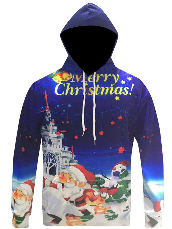 3D Print Kangaroo Pocket Christmas Patterned HoodiesMEN<br><br>Size: 3XL; Color: BLUE; Material: Cotton Blends; Shirt Length: Regular; Sleeve Length: Full; Style: Fashion; Weight: 0.348kg; Package Contents: 1 x Hoodie;