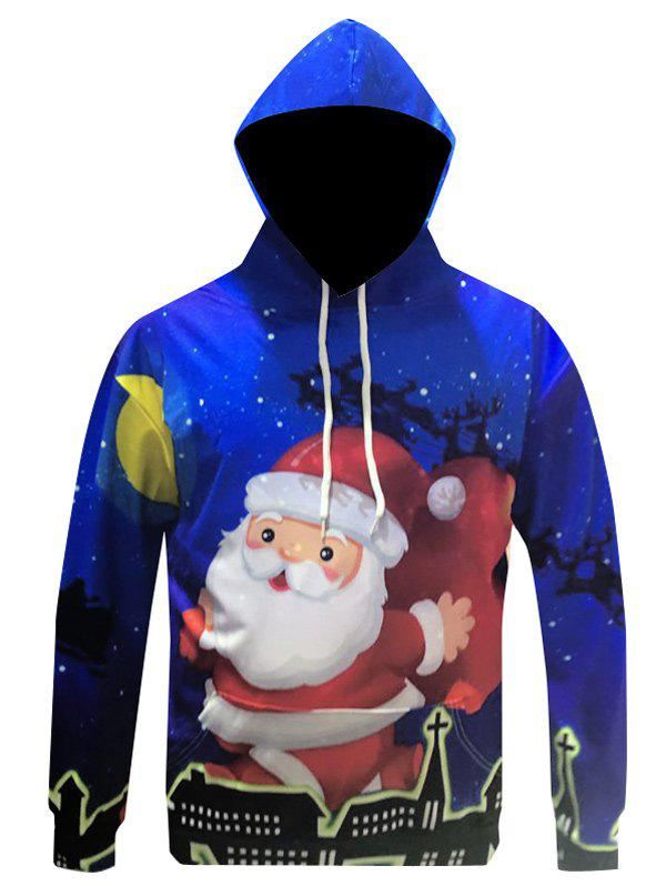 Christmas Santa Claus Printed Pullover HoodieMEN<br><br>Size: L; Color: BLUE; Material: Cotton,Polyester; Shirt Length: Regular; Sleeve Length: Full; Style: Casual; Weight: 0.399kg; Package Contents: 1 x Hoodie;