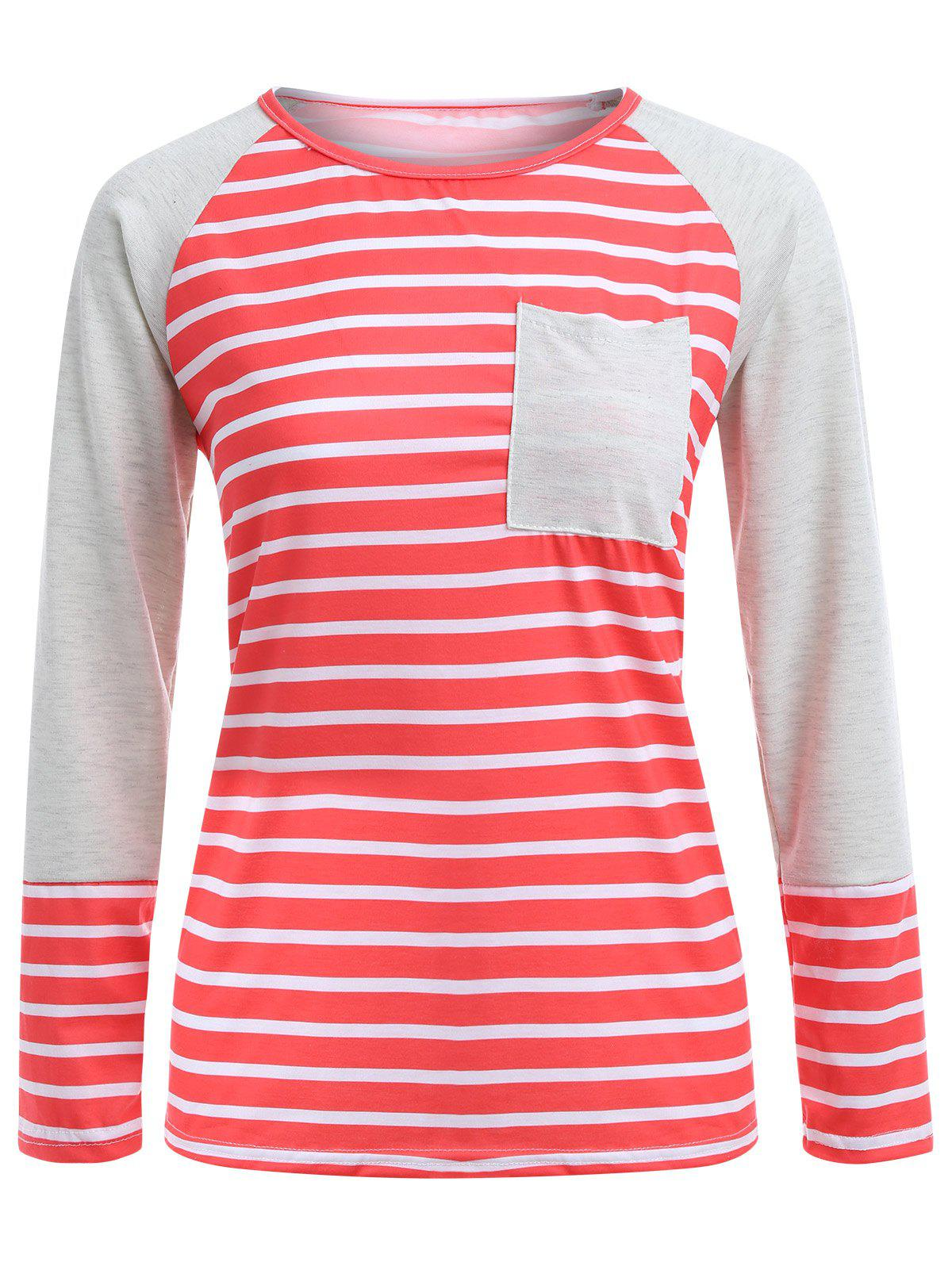 Chic Stripe Raglan Sleeve Pocket T-Shirt